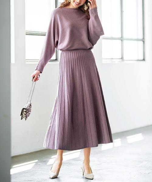 [GeeRA] 【20秋冬新着】ニットプリーツフレアースカート