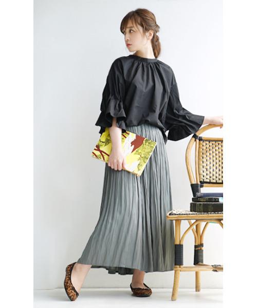 [イーザッカマニアストアーズ] ヴィンテージサテン 消しプリーツ フレアロングスカート