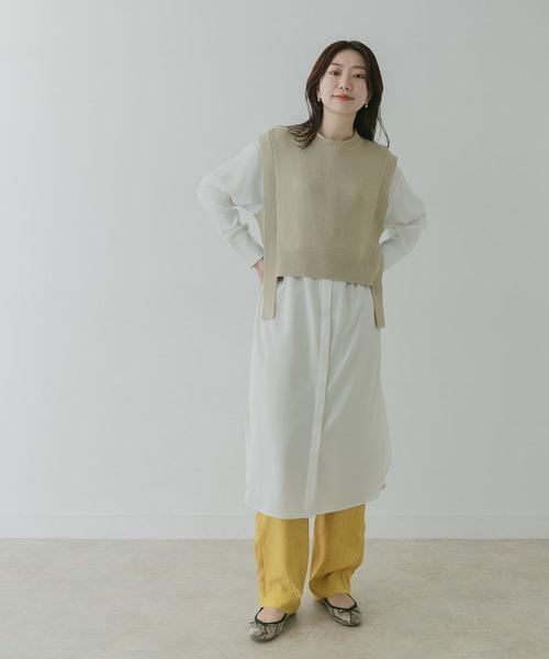 [KBF] KBF+ クルーベストレイヤードシャツワンピース