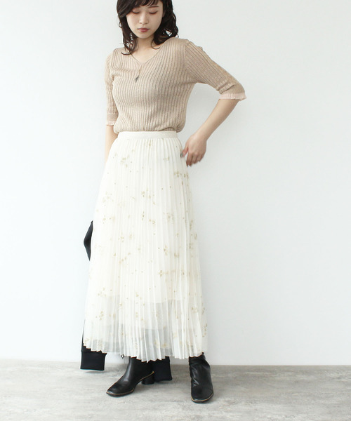 [Three Four Time] 金糸モチーフ刺繍チュールプリーツスカート