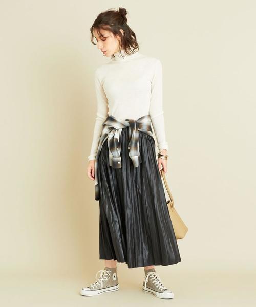 [BEAUTY&YOUTH UNITED ARROWS] BY∴ レザーライクサテンプリーツスカート