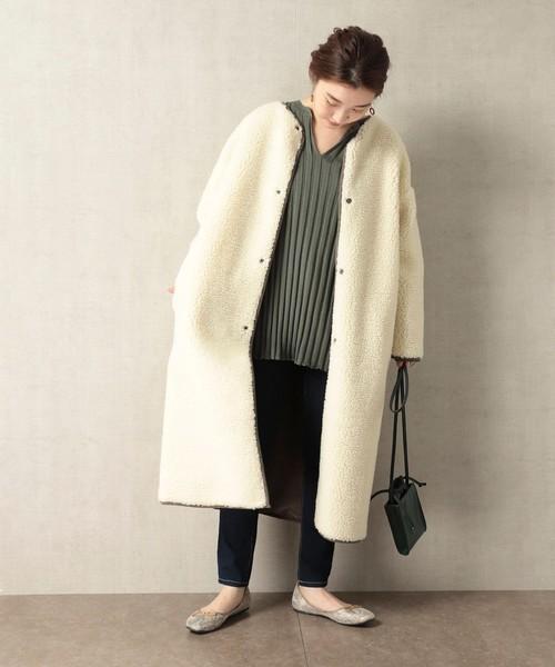大阪|12月服装|白フリースコートコーデ