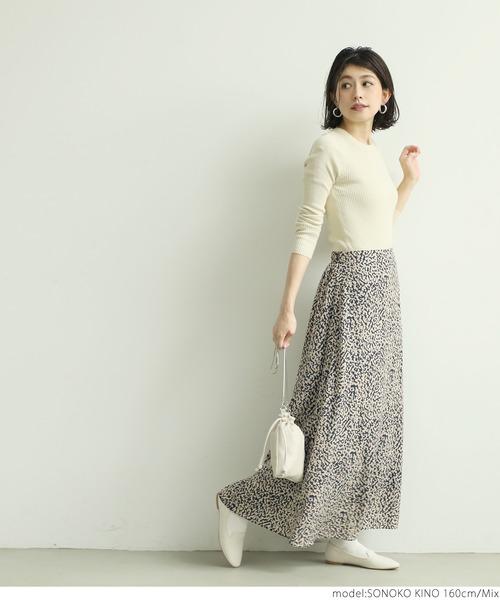 [coca] アニマル柄フレアロングスカート