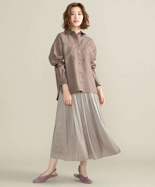 [SHARE PARK] 【定番人気】サテンプリーツロングスカート