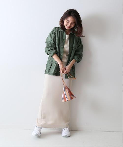ミリタリージャケット×カットロングスカート