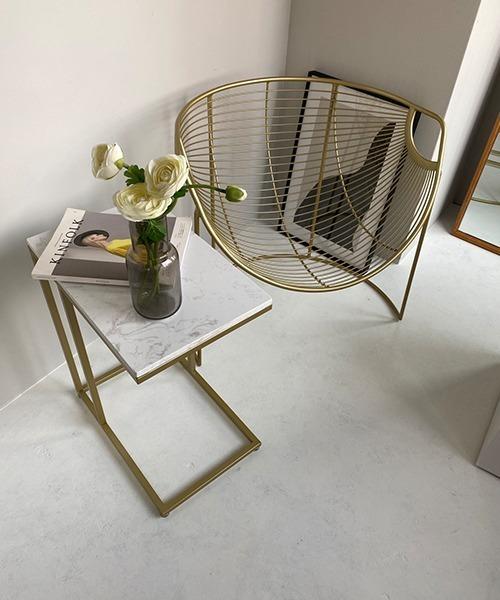 [chuclla] 【chuclla home】ゴールドフレームサイドテーブル