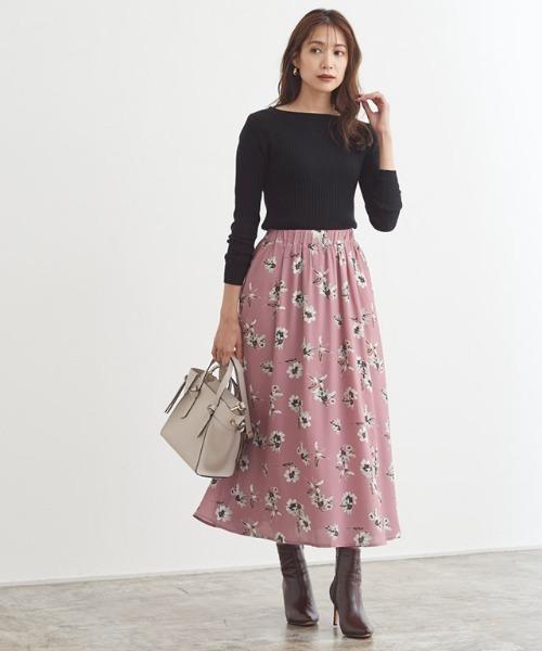 [Pierrot] 花柄ギャザースカート