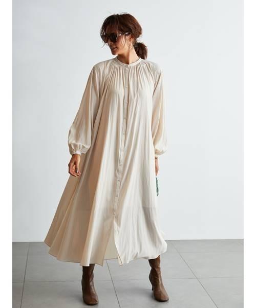 [Mila Owen] ギャザーデザインシャツワンピース
