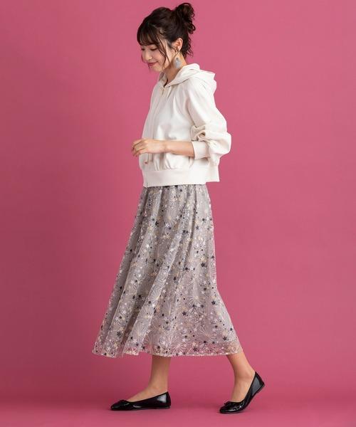 [Rose Tiara] チュールスター刺繍フレアスカート