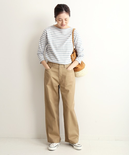 [IENA] LE DENIM チノバギーパンツ【洗濯機洗い可能】◆