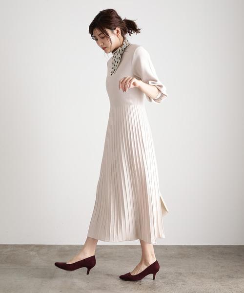 [ViS] 【田中みな実さん着用】ボリュームスリーブ6分袖プリーツニットワンピース