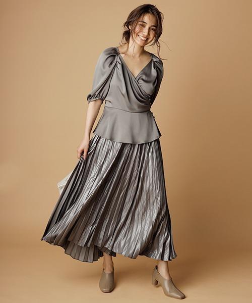 [FRAY I.D] レザーライクサテンプリーツスカート