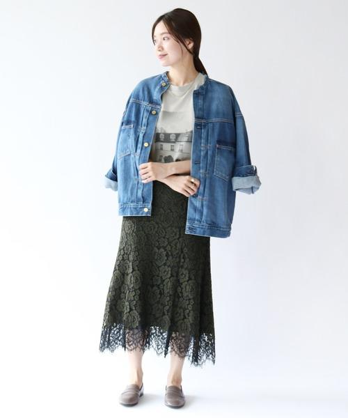 [IENA] レース裾フレアスカート◆