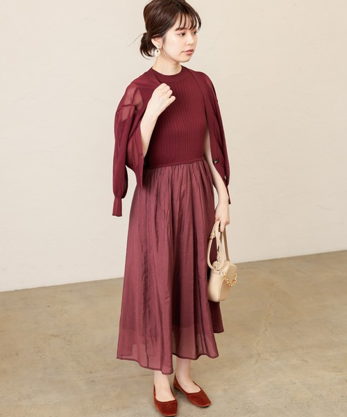 [natural couture] 【WEB限定】シアーカーディガン&ドッキングワンピ
