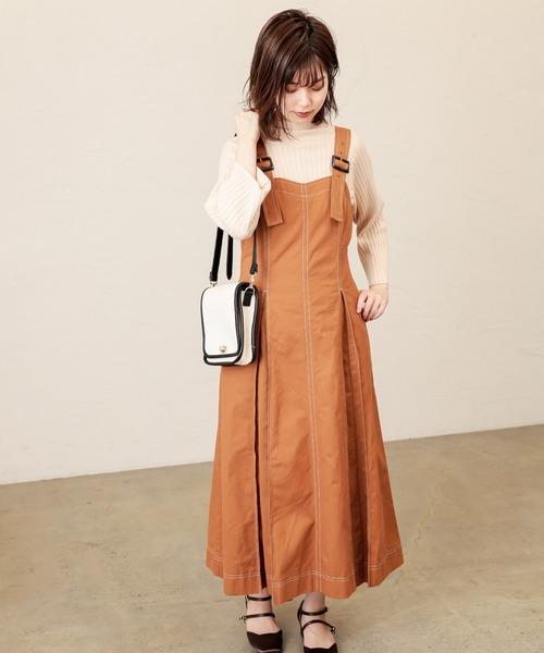 [natural couture] 【WEB限定カラー有り】配色ステッチジャンスカ