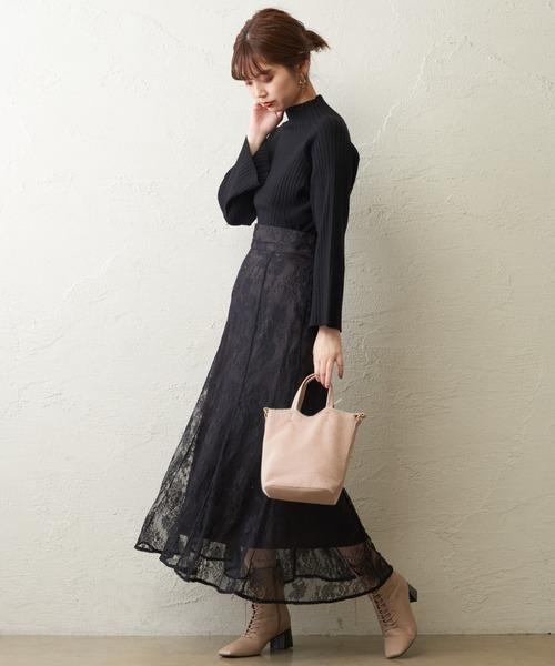 [natural couture] 【WEB限定】もちもちラグランフレアスリーブニット