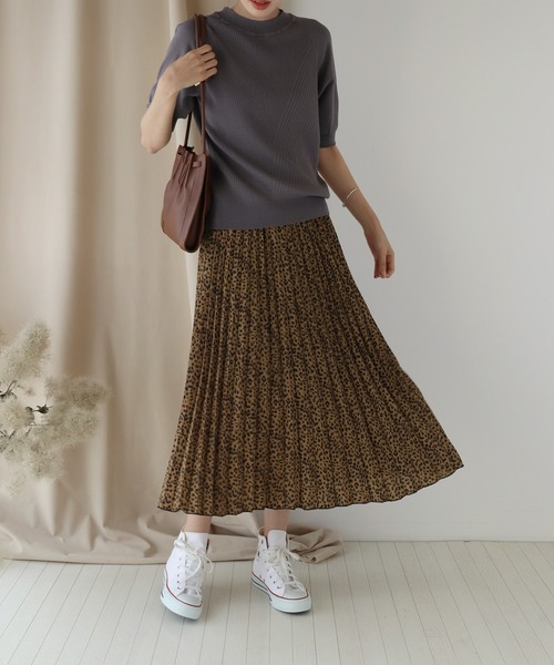 [BLUEEAST] レオパードプリーツスカート
