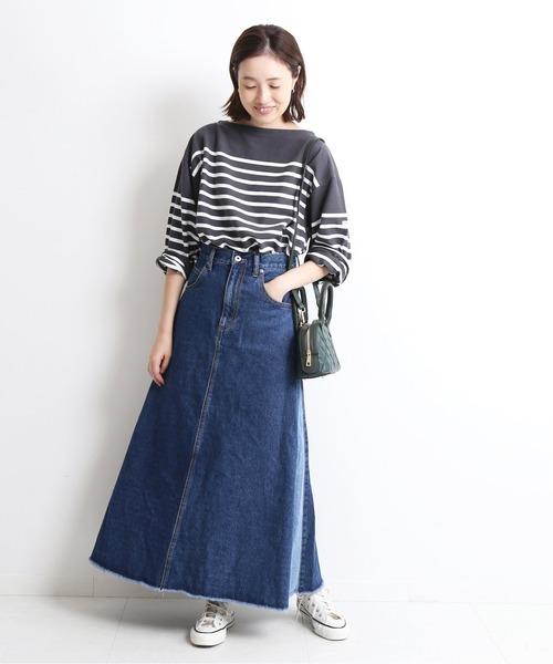 [IENA] LE DENIM フレアーカットオフスカート【洗濯機使用可】◆