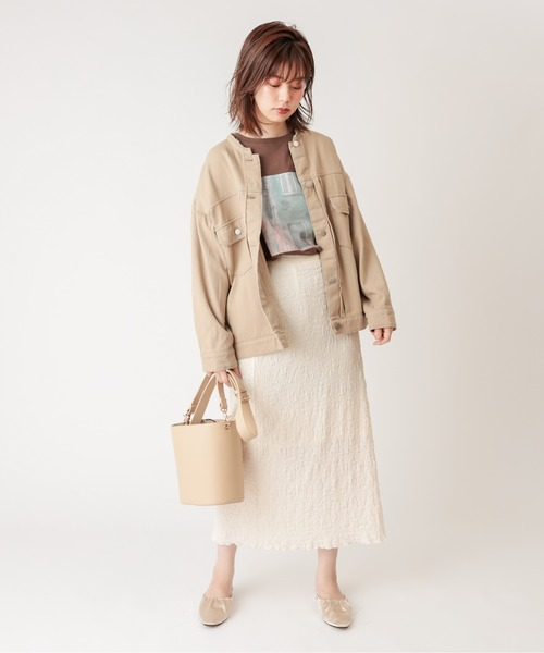 [natural couture] ノーカラーリメイクGジャン