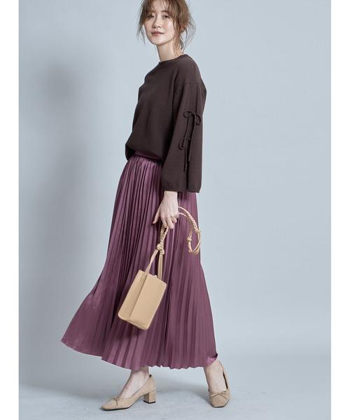 [tocco closet] サテンプリーツスカート