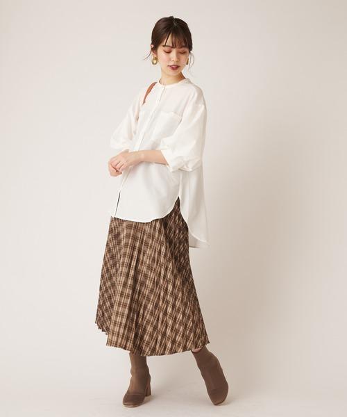 [natural couture] チェック柄プリーツスカート