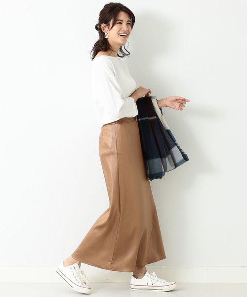 [BEAMS WOMEN] BEAMS LIGHTS / サイド裾切替 サテンスカート