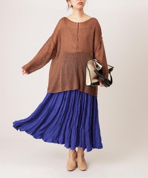 [natural couture] 【WEB限定カラー有り】クリンクルティアードスカート