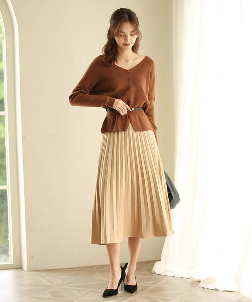 [SAISON DE PAPILLON] バックゴムロングプリーツスカート