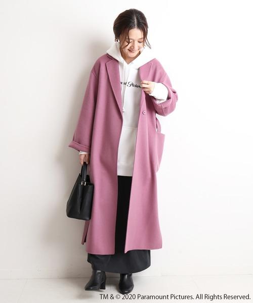 大阪|12月服装|ピンクコートコーデ