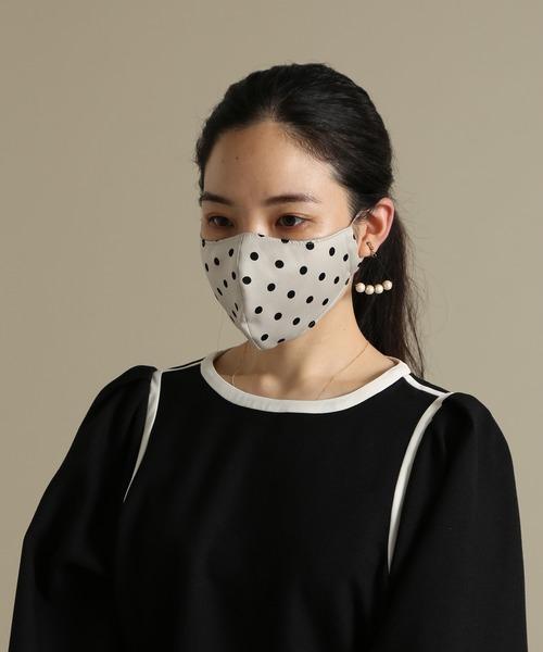 [TIARA] ピーチサテンドット柄マスク