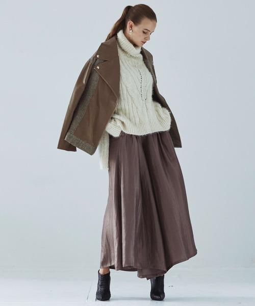 [Auntie Rosa] 【LA BELLE ETUDE】【Belle vintage】異素材切替ライダースレザージャケット