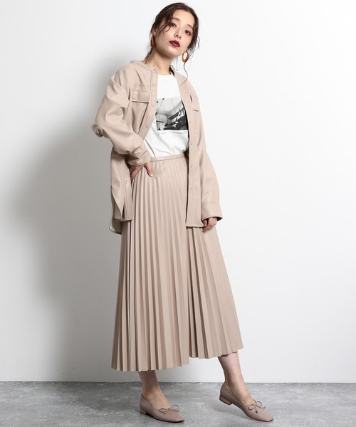 [mysty woman] エコレザープリーツスカート 916280
