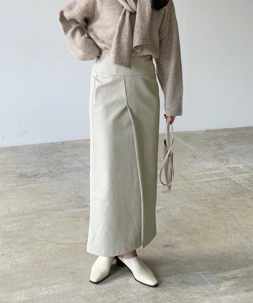 [Lian] エコレザーラップスカート