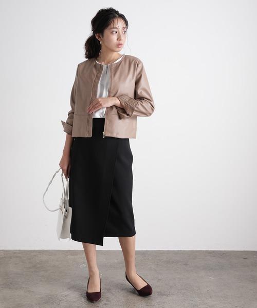 ノーカラーブルゾン×ラップタイトスカート