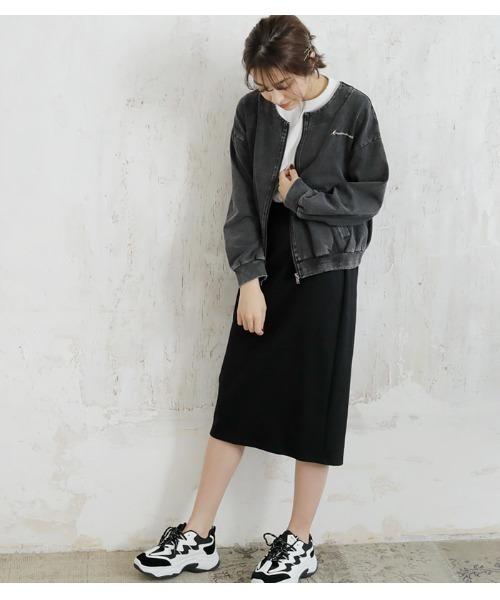 デニムブルゾン×ミディ丈スカート