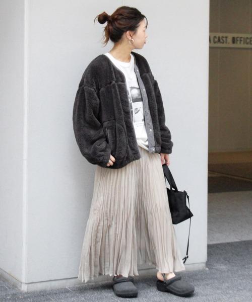 フリースブルゾン×ギャザースカート