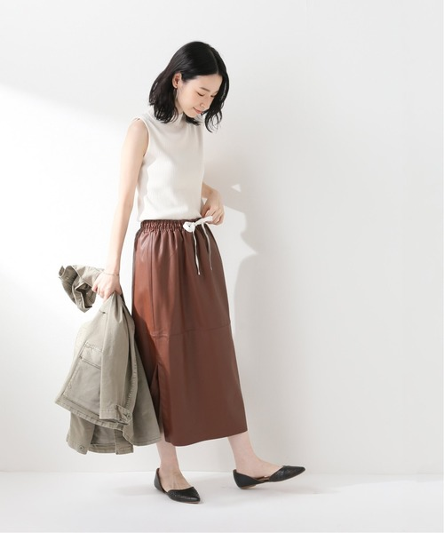 [Spick & Span] 【Designers Remix】エコレザーミディスカート◆