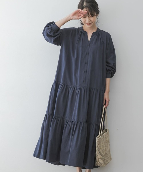 [URBAN RESEARCH ROSSO WOMEN] F by ROSSO コットンレーヨンティアードワンピース