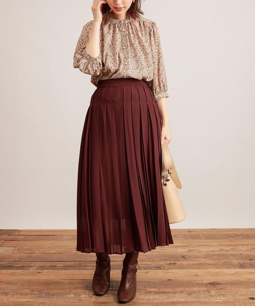 [natural couture] 【WEB限定カラー有り】モードな太ピッチダブルプリーツスカート
