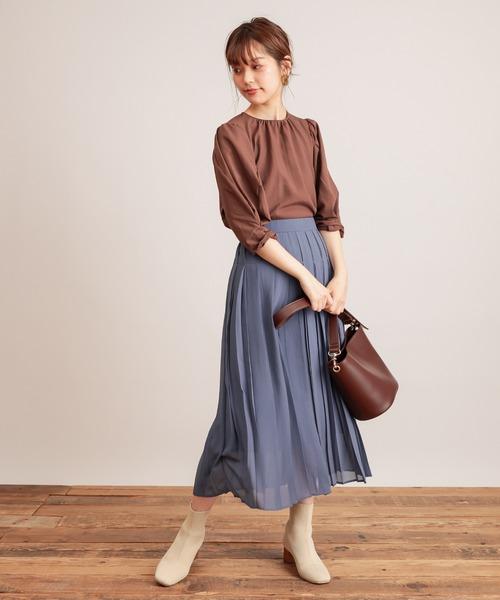 [natural couture] 【WEB限定カラー有り】くしゅくしゅギャザー袖ブラウス