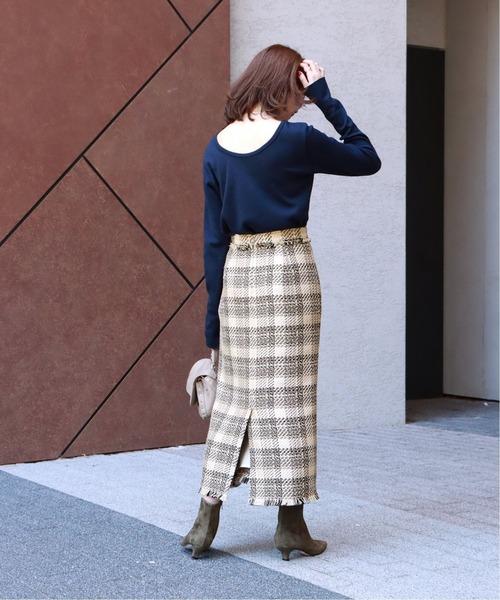 [Spick & Span] ミックスツィードマキシタイトスカート◆
