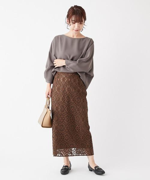 [COLLAGE GALLARDAGALANTE] ロングレースタイトスカート