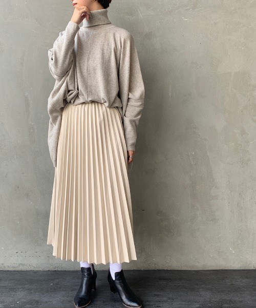 [JEANS FACTORY] [JEANS FACTORY CLOTHES/ジーンズファクトリークローズ] エコレザープリーツロングスカート