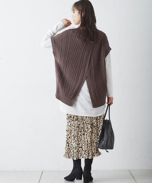 [Discoat] レオパードワッシャープリーツスカート