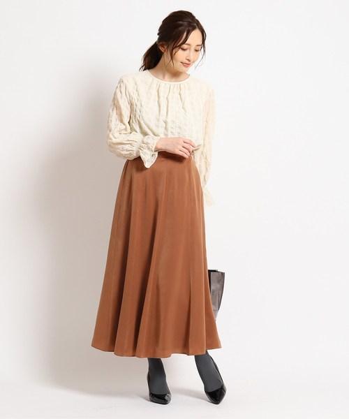 [WORLD ONLINE STORE SELECT] 【洗える】ピーチサテンロングスカート