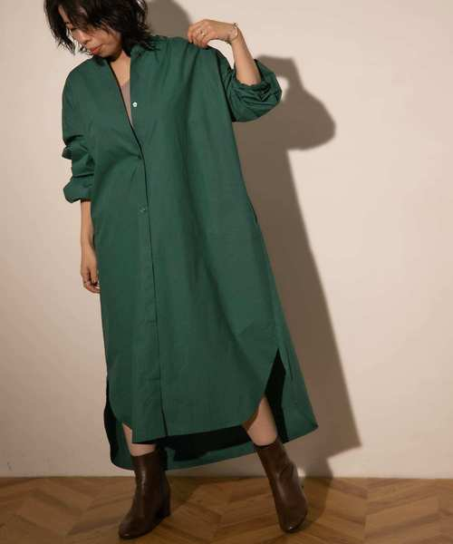 [ITEMS URBAN RESEARCH] ノーカラーシャツワンピース