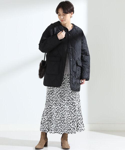 キルティングブルゾン×レオパードスカート