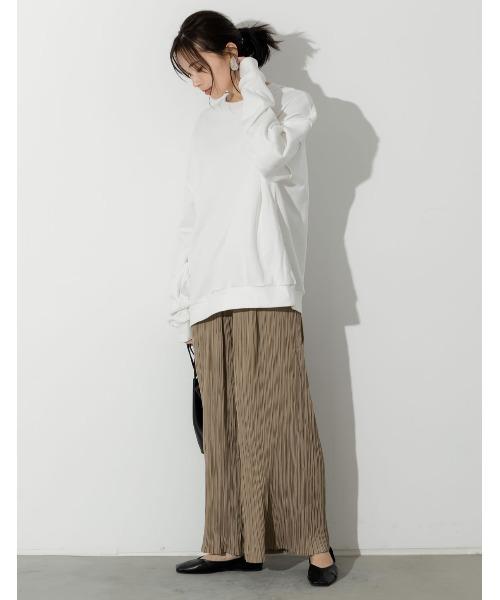 [Re:EDIT] [低身長向け/高身長向けサイズ対応]マットサテンプリーツストレートパンツ
