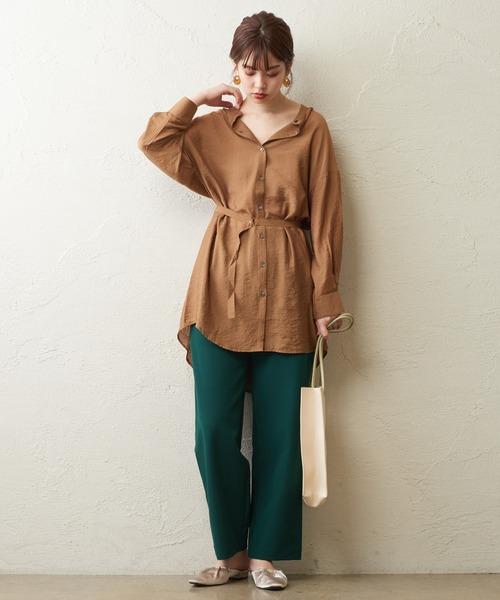 [natural couture] バンドカラーチュニックシャツ