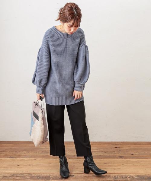 [natural couture] 美シルエットテーパードパンツ Lサイズ